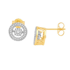 ROUND HALO DANCING DIAMOND EARRINGS 14KT GOLD