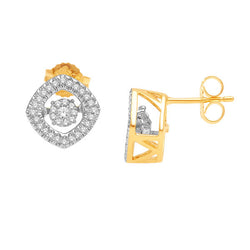 HALO DANCING DIAMOND EARRINGS 14KT GOLD