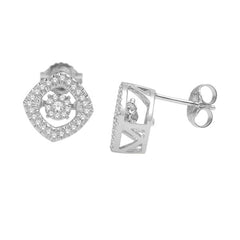 HALO DANCING DIAMOND EARRINGS 14KT WHITE GOLD