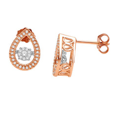 TEAR DROP DANCING DIAMOND EARRINGS 14KT GOLD