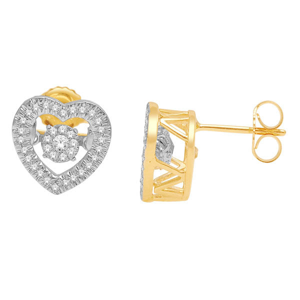 HEART SHAPE DANCING DIAMOND EARRINGS 14KT GOLD