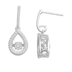 TEAR DROP DANCING DIAMOND EARRINGS DANGLE 14KT GOLD