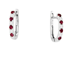 RUBY AND DIAMOND EARRINGS 14KT WHITE GOLD