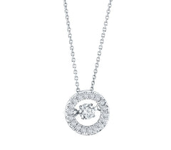ROUND HALO DANCING DIAMOND PENDANT 14KT WHITE GOLD