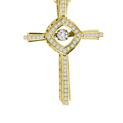 DANCING DIAMOND CROSS PENDANT 14KT GOLD
