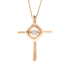 DANCING DIAMOND CROSS PENDANT 14KT ROSE GOLD