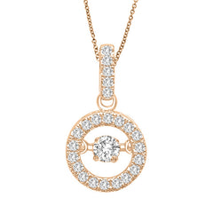 ROUND HALO DANCING DIAMOND PENDANT 14KT ROSE GOLD