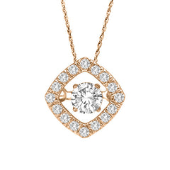 HALO DANCING DIAMOND PENDANT 14KT ROSE GOLD