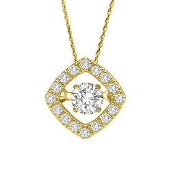 HALO DANCING DIAMOND PENDANT 14KT GOLD