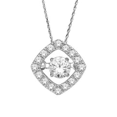 HALO DANCING DIAMOND PENDANT 14KT WHITE GOLD
