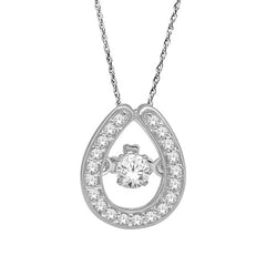 DANCING DIAMOND PENDANT 14KT WHITE GOLD