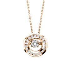 CIRCLE DANCING DIAMOND PENDANT 14KT ROSE GOLD