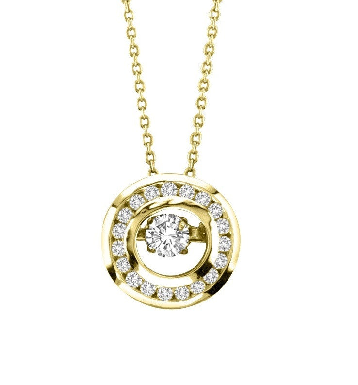 CIRCLE DANCING DIAMOND PENDANT 14KT GOLD