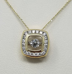 SQUARE DANCING DIAMOND PENDANT 14KT GOLD