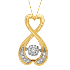 HEART SHAPE DANCING DIAMOND PENDANT 14KT GOLD