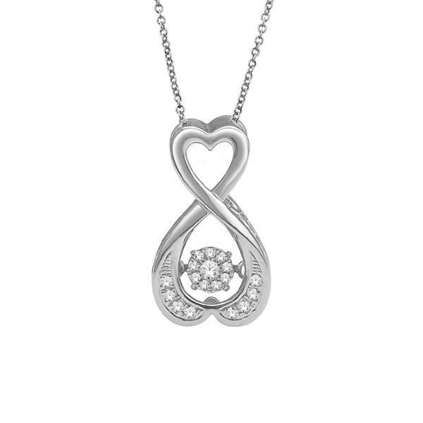 HEART SHAPE DANCING DIAMOND PENDANT 14KT WHITE GOLD