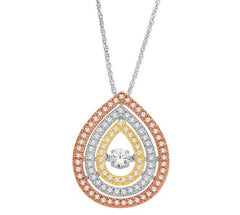 PEAR SHAPE DANCING DIAMOND PENDANT 14KT TRI-COLOR GOLD