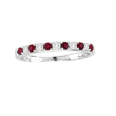 RUBY AND DIAMOND RING 14KT WHITE GOLD