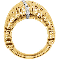 INTERWOVEN 14KT YELLOW GOLD & DIAMOND RING