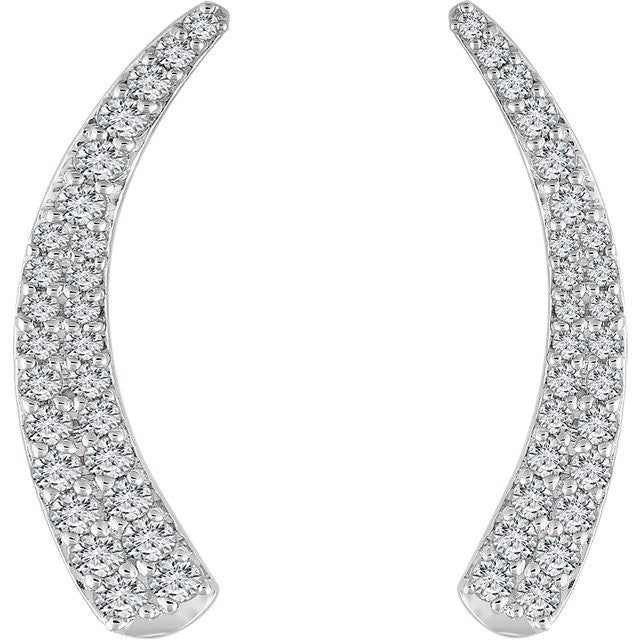 DIAMOND EAR CLIMBERS 14KT WHITE GOLD