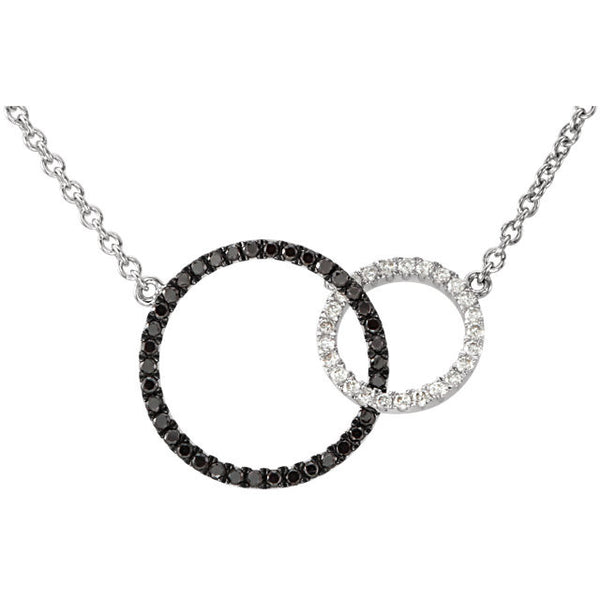 DOUBLE CIRCLE LIFE BLACK & WHITE DIAMOND NECKLACE 14KT GOLD