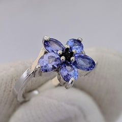 Tanzanite Flower Ring Silver