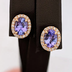 Tanzanite Halo Diamond Earrings 14kt Rose Gold