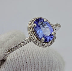 Tanzanite Halo Ring Silver