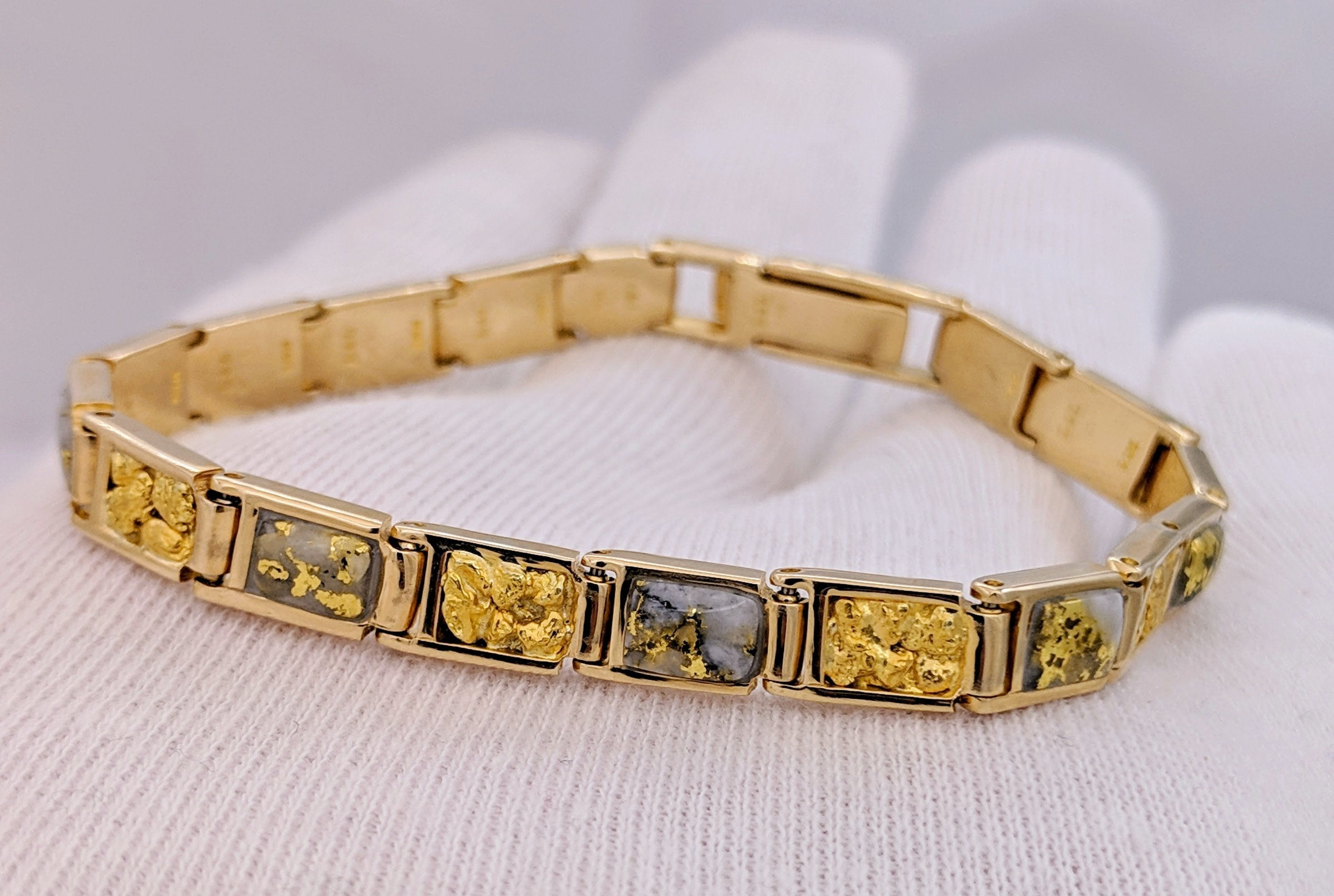 Natural Gold Quartz & Gold Nugget Bracelet