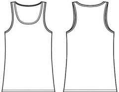 Women's relaxed tank top outline.