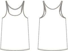 Women's slouchy tank top outline.