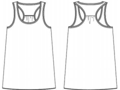 Women's flowy racerback tank top outline.