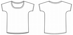 Women's slouchy shirt outline.