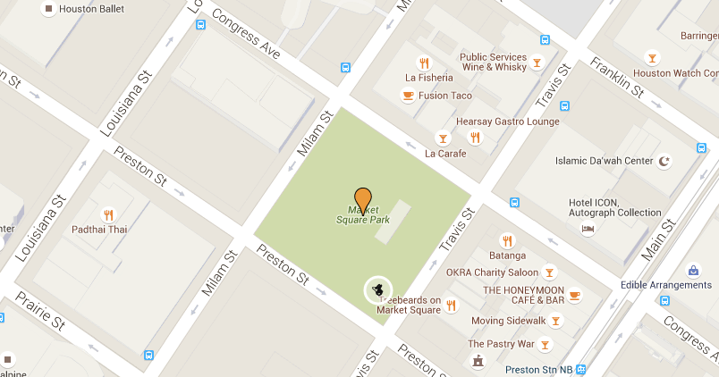 Map showing location of Puppies for Breakfast event and Give A Fluff booth.