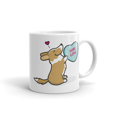 Cardigan Corgi Candy Heart Mug - Red