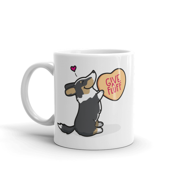 Intl - Cardigan Corgi Candy Heart Mug - Black Headed Tri-Color