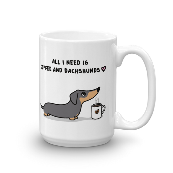 Coffee and Dachshund Mug - Black Tri-Color