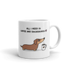 Coffee and Dachshund Mug - Red Tri-Color