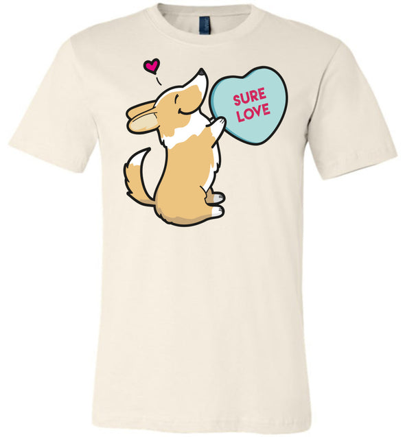 Corgi Candy Heart Tee - Red And White with Tail