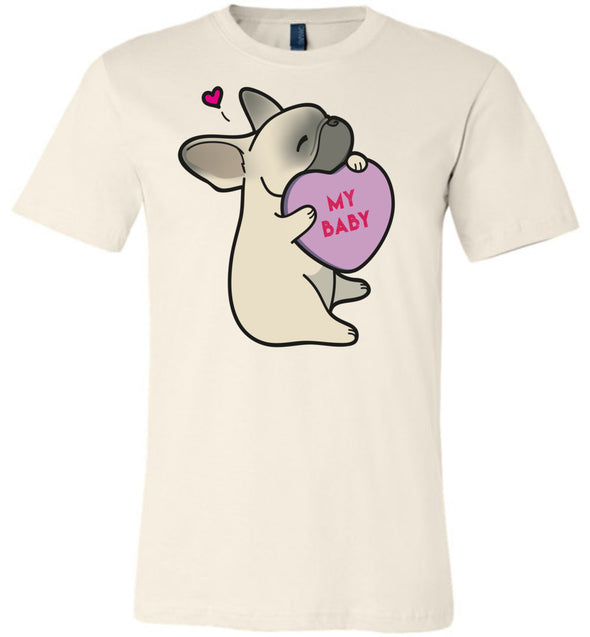 Frenchie Candy Heart Tee - Fawn with Mask