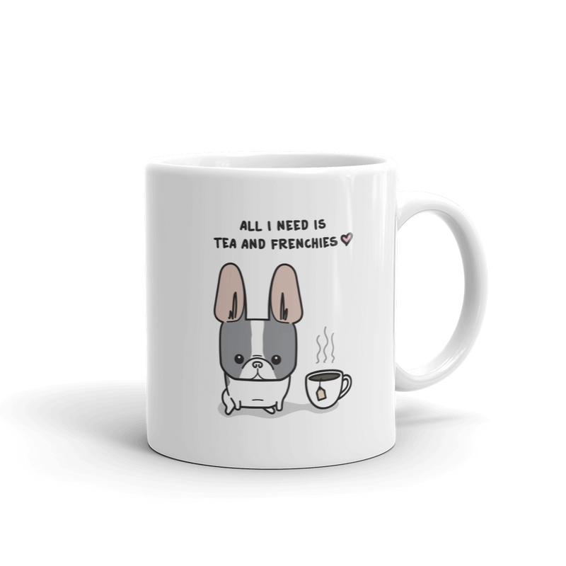 Tea and Frenchies Mug - Blue Pied 2