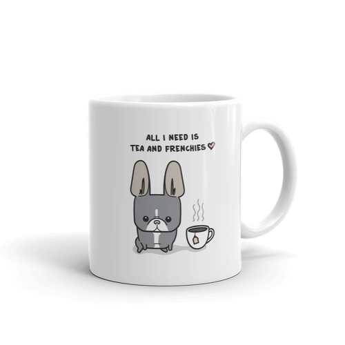Tea and Frenchies Mug - Blue Pied 3
