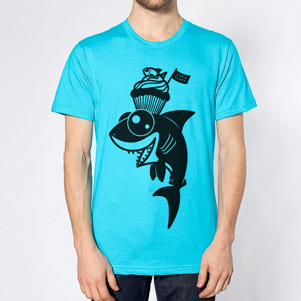 Shark Sweets Unisex T-shirt in aqua.