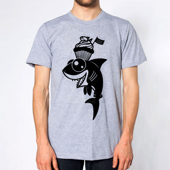 Shark Sweets Unisex T-shirt in heather grey.