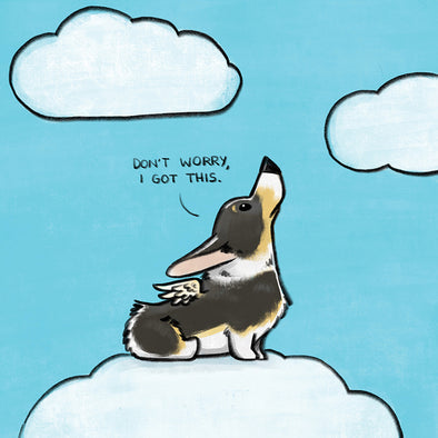 """I Got This"" Corgi Angel Print"