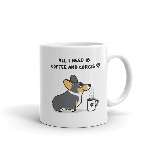 Coffee and Corgis Mug - Tri-Color 1