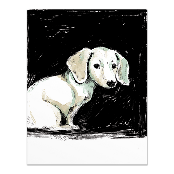 Dachshund Ink Drawing Card