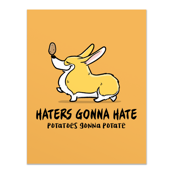 Haters Potaters Corgi Card