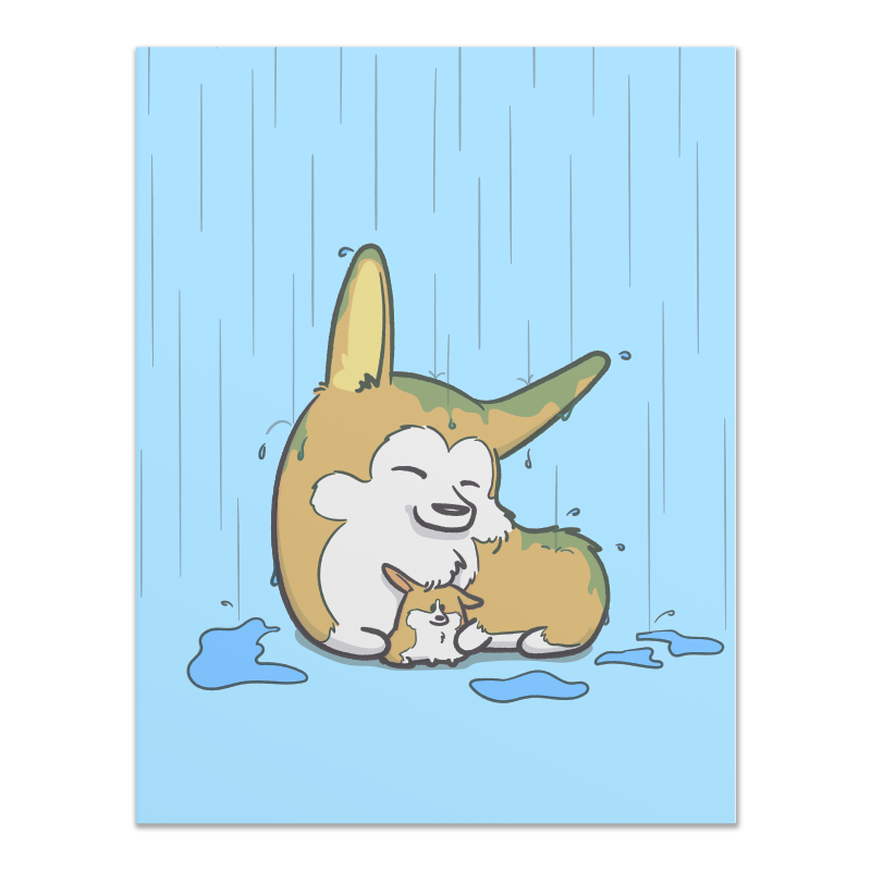 Mother and Pup Corgi Greeting Card