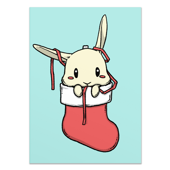 Bunny in Stocking Holiday Card